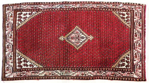 1: Shiraz carpet, 6'10'' x 3'11''.