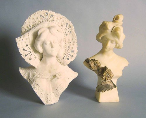 88: Two alabaster busts, ca. 1900, 15 1/2'' h., 14 1/2