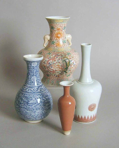 96: Four Chinese vases, 20th c., tallest - 9 1/2'' h.