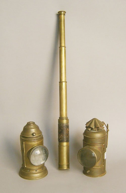 506: Two brass signal lamps, one stamped Adams & West