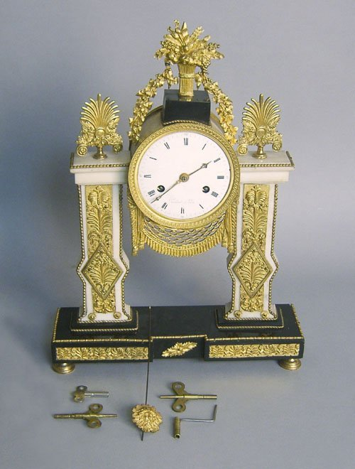 510: French marble, slate, and ormolu portico clock, 1