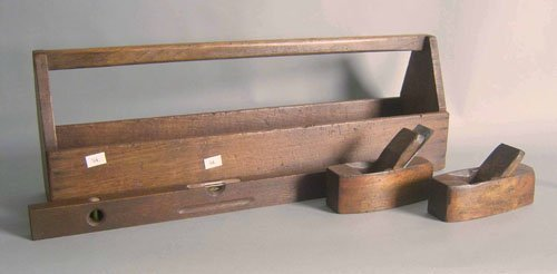 515: Pine tool carrier, 11'' h., 13'' w., together with