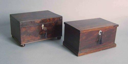 517: Pennsylvania mahogany tea caddy, 19th c., 5 3/4''