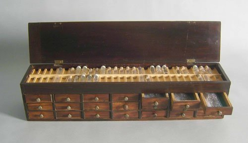 518: Clockmakers chest with parts, 5 1/2'' h., 23 1/2''