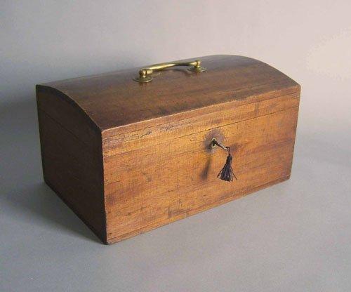 519: Basswood lockbox, 19th c., 7 1/4'' h., 13 3/4'' w.