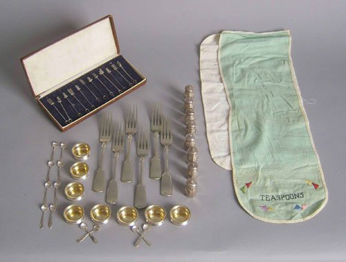 520: Group of sterling silver and plated tablewares, a
