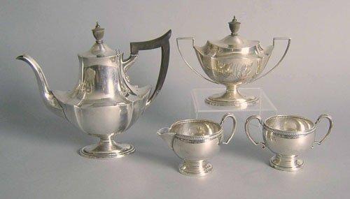 521: Assembled four piece sterling silver tea service,