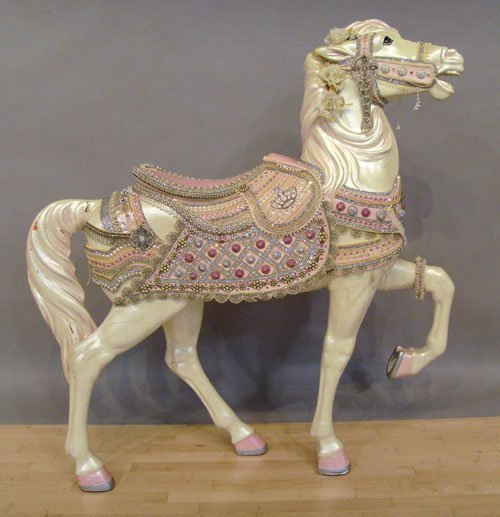 798: American carved and painted carousel horse, early