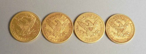 943: Four US $5 gold liberty head coins, 1878, 1881, 1