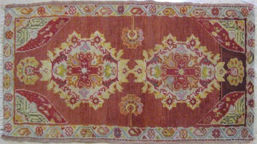 4: Three oriental mats, early 20th c., two - 2'11''
