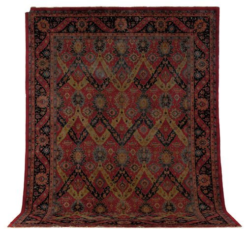 7: Indo Kirman carpet, ca. 1930, with a red field