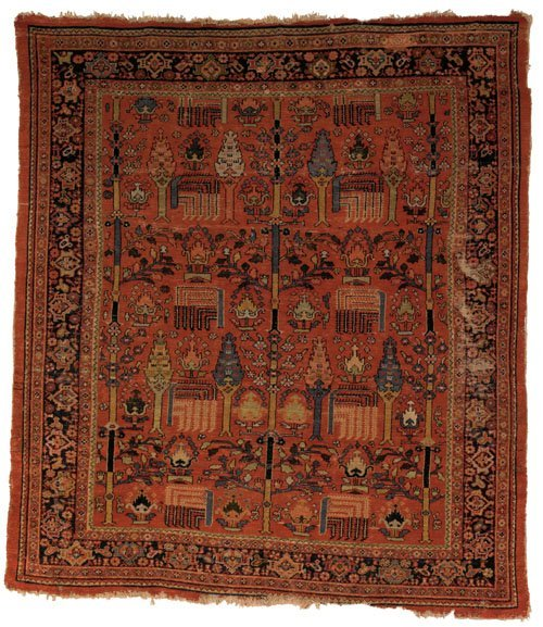 9: Mahal carpet, ca. 1900, with tree of life desig
