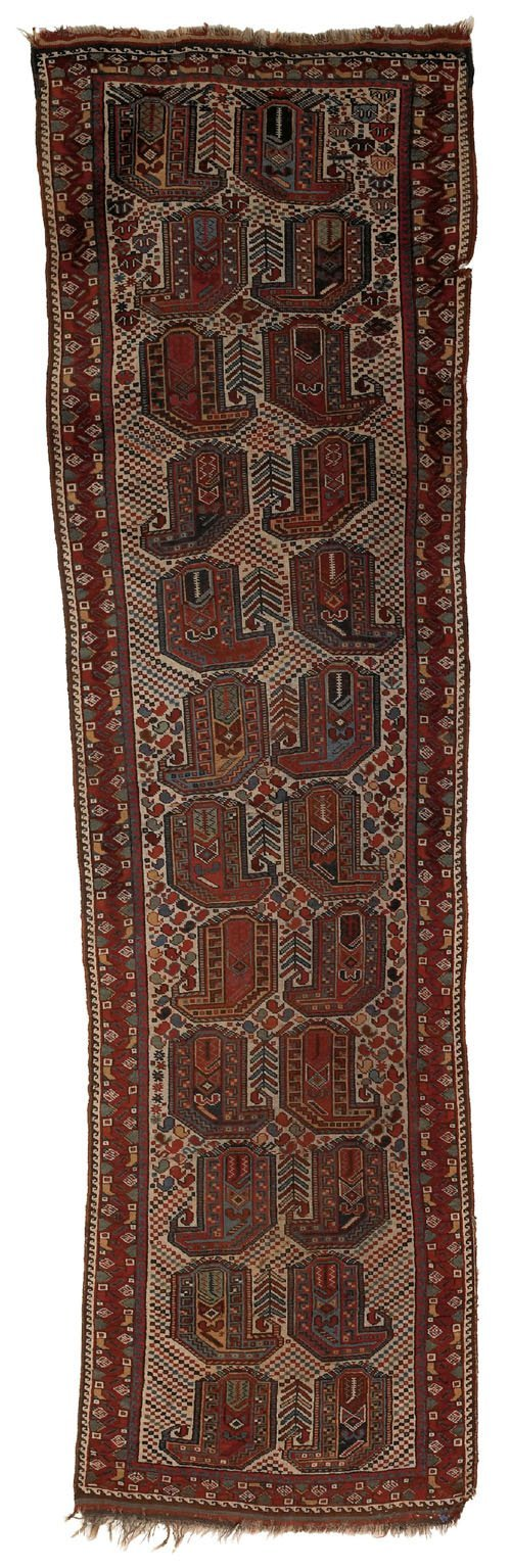 10: Kashgai runner, ca. 1900, with boteh design on