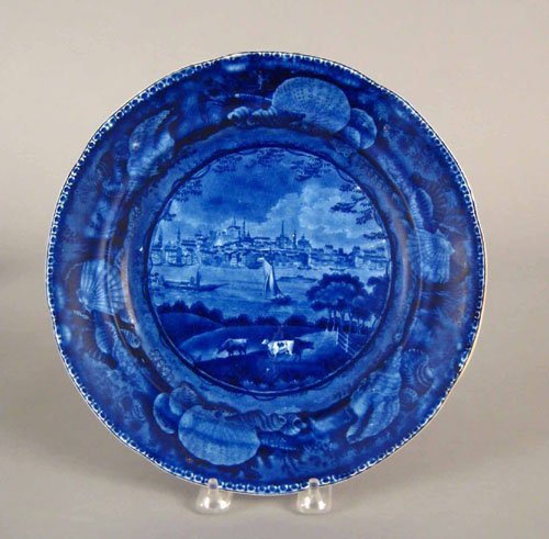 310: Historical blue Staffordshire plate, 19th c., d
