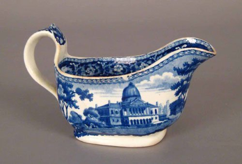 311: Historical blue Staffordshire creamer, 19th c.,