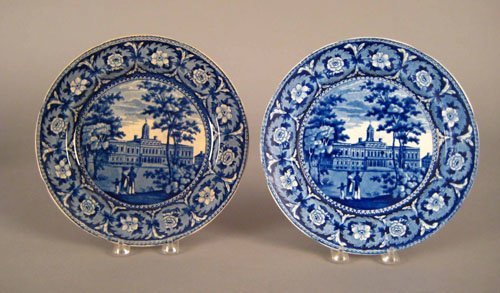 313: Two historical blue Staffordshire plates, 19th c