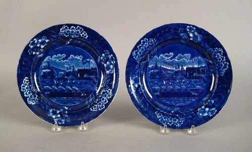 314: Two historical blue Staffordshire plates, 19th c