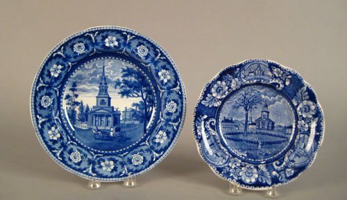315: Historical blue Staffordshire soup plate, 19th c