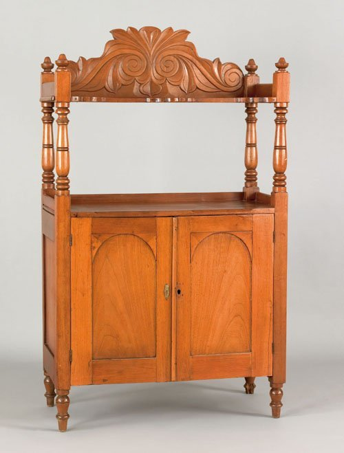316: Caribbean carved mahogany server, 19th c., with