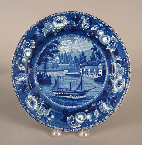 317: Historical blue Staffordshire plate, 19th c., d