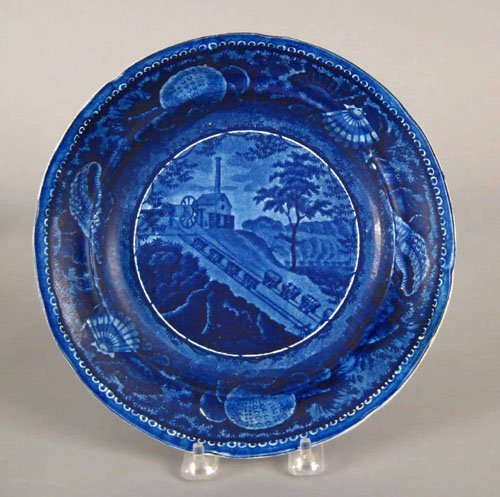319: Historical blue Staffordshire plate, 19th c., d