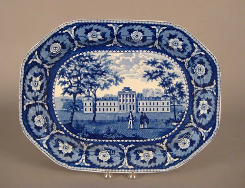 321: Historical blue Staffordshire platter, 19th c.,
