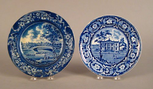 322: Two historical blue plates, 19th c., depicting