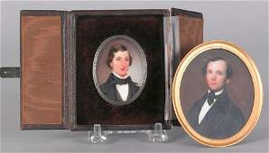681: Two watercolor and ivory miniature portraits, mi