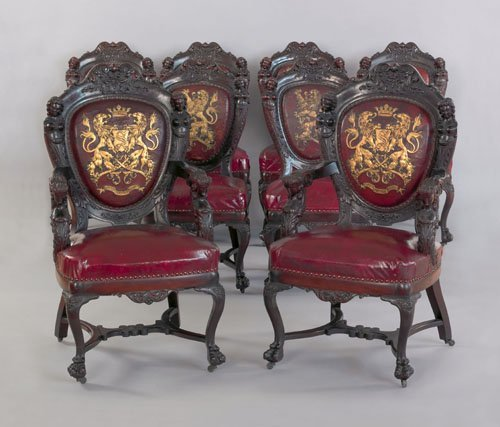 816: Set of eight Victorian mahogany dining chairs, 1