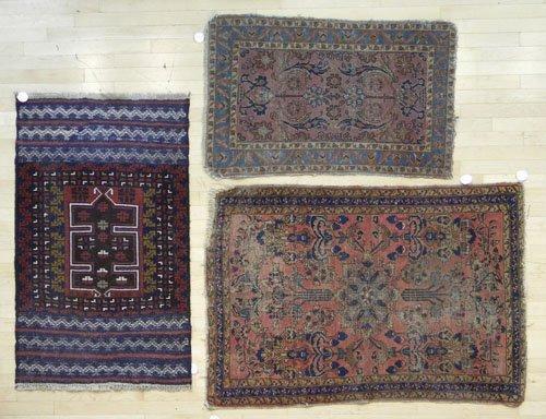 16: Three oriental mats, 4' 10'' x 3' 3'', 4' 6'' x 2'