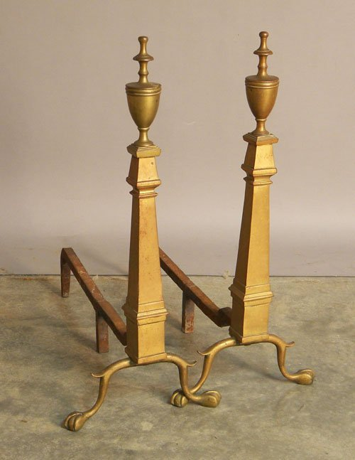 22: Pair of Federal style brass andirons, 28'' h.