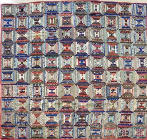 24: Log cabin quilt, 19th c., 97'' x 100''.