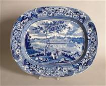 450: Historical blue Staffordshire platter, 19th c., d