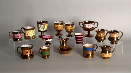 603: Group of luster tablewares, 19th c., tallest - 4