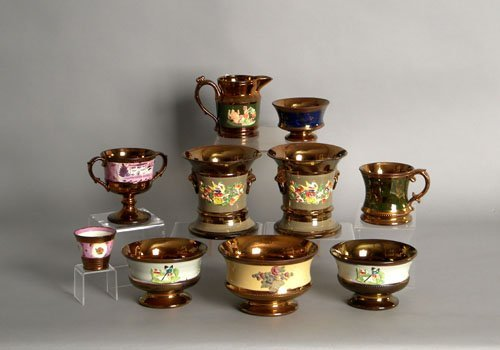 604: Group of luster tablewares, 19th c., tallest - 5