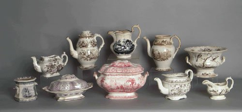 607: Group of Staffordshire tablewares, 19th c.
