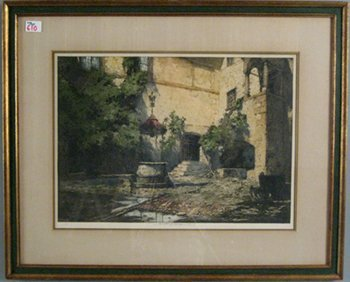 610: Luigi Kasimir pencil signed colored lithograph, 1