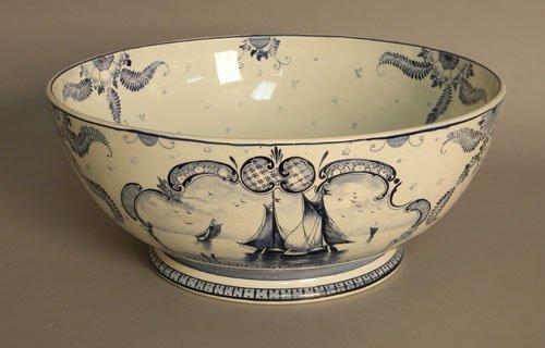 612: Royal Bonn Delft punch bowl, 7'' h., 16 1/2'' dia.