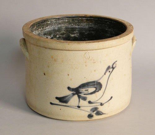 613: Stoneware crock with bird decoration, 19th c., 8''