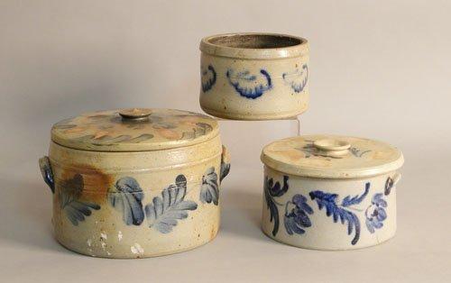 614: Three stoneware crocks with cobalt decoration, 19