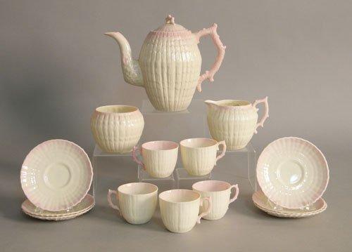 616: Belleek shell pattern tea service, 14 pieces.