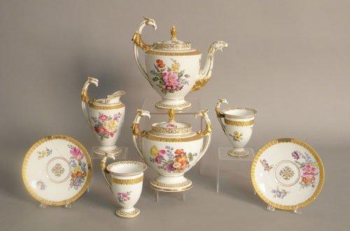 617: Dresden painted porcelain tea service, 19th c., t