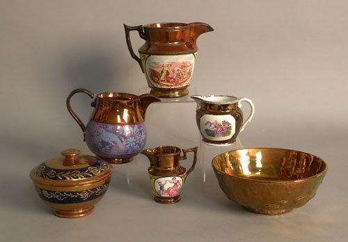 618: Group of copper luster tablewares, 19th c., talle