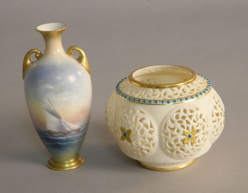 624: Royal Worcester vase 4 5/8'' h., and reticulated b