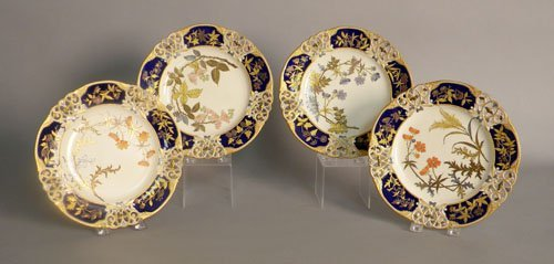 625: Set of four Royal Worcester plates with reticulat