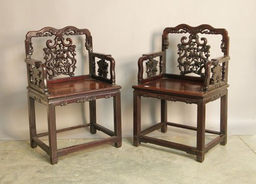 715: Pair of Chinese carved armchairs, ca. 1900.
