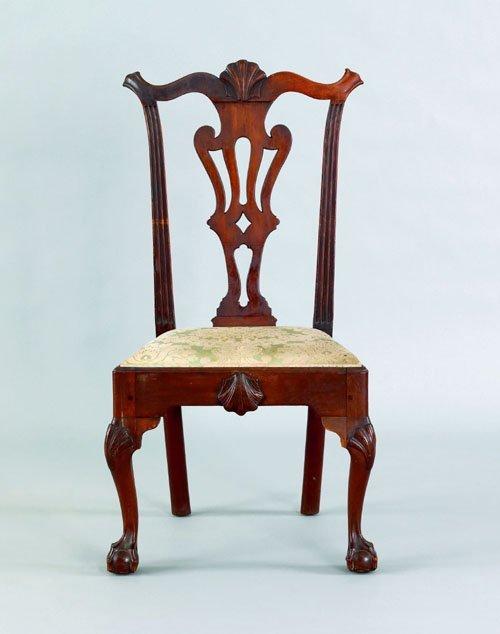 12: Philadelphia Chippendale walnut dining chair, ca