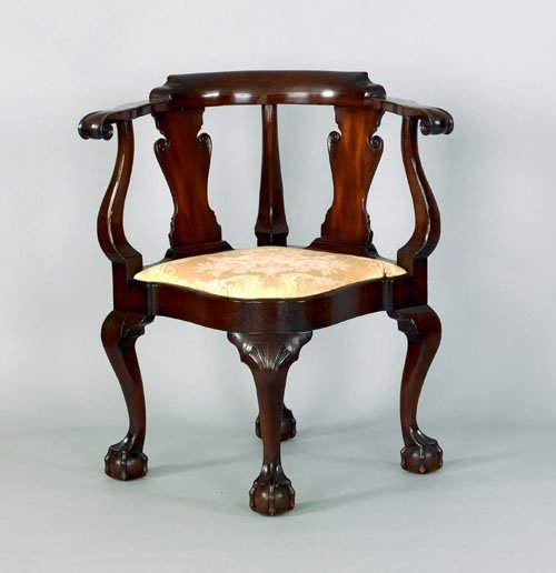16: Chippendale style mahogany corner chair, probabl