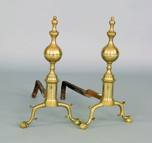 17: Pair of New York Federal brass andirons, ca. 181