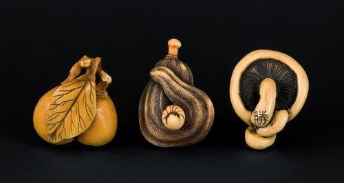 112: Three Japanese carved ivory netsuke, 19th c., t